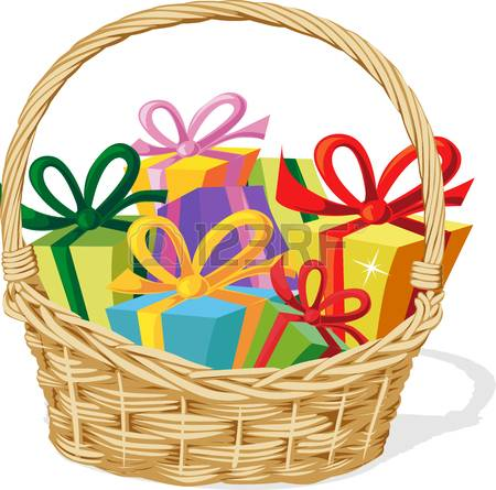 basket full of gift isolated on white - vector illustration