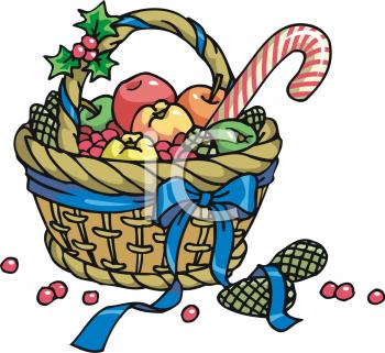Gift Basket Cartoon Clipart #1