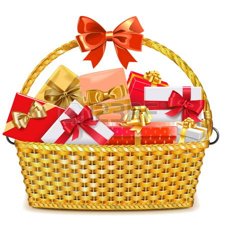 Vector Wicker Basket with Gif - Gift Basket Clipart