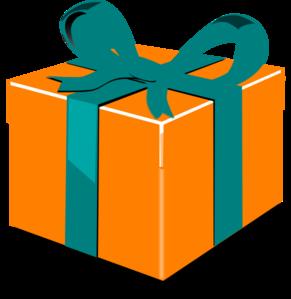 Orange Green Gift Clip Art - Gift Clipart