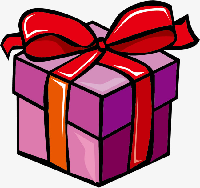 purple cartoon holiday gift,  - Gift Clipart