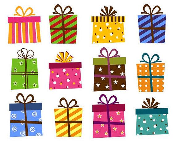 Giftbox Clip Art Present Boxes Clip Art Instant Download Birthday