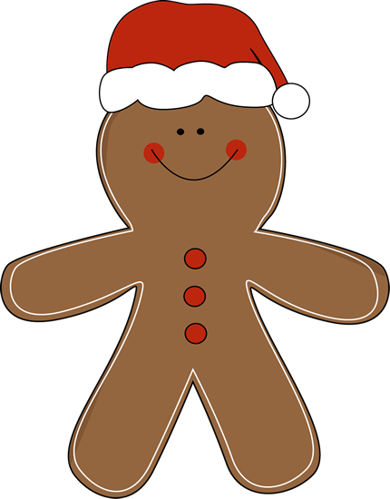 Gingerbread Man Wearing A Santa Hat Clip Art Gingerbread Man