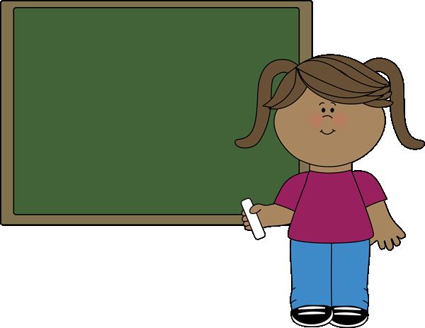 Girl at Chalkboard