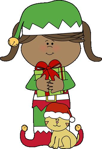 Girl Christmas Elf with Christmas Cat