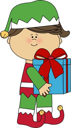 Girl Christmas Elf with Gift clip art image for teachers, classroom lessons, educators, school, print, scrapbooking and more.