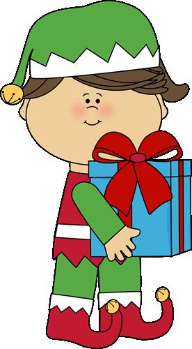 Girl Christmas Elf with Gift