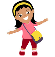 Smiling Cute Girl With Her Bag Pack Back To School Clipart