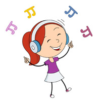 girl dancing while listening music clipart. Size: 76 Kb