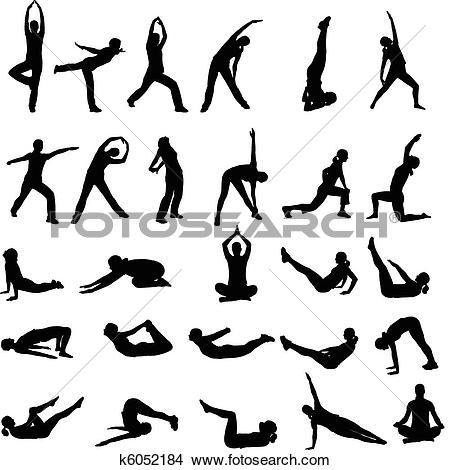girl exercising silhouettes
