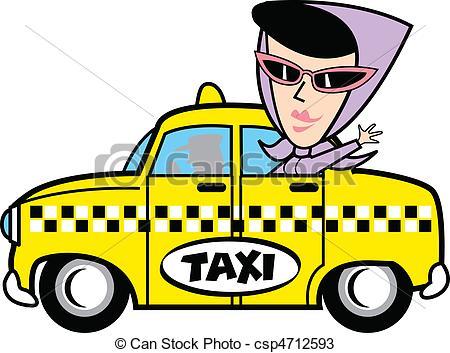 ... Girl In Taxi Clip Art - A retro style girl or woman riding.