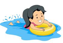 Girl Learning Swimming Holing Inner Tube Clipart Size: 88 Kb