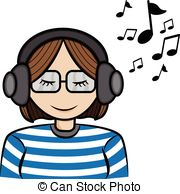 ... girl listening music - a cartoon illustrator of a girl... ...