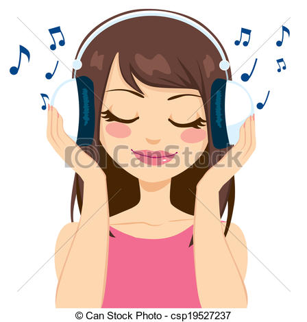 Girl Listening to Music Clip .