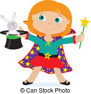 ... Girl Magician - A young girl dressed as a magician is.