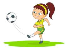 Girl Playing Soccer Kicks Ball Size: 92 Kb