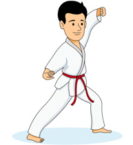 Girl Practicing Karate Kick Clipart Size: 82 Kb