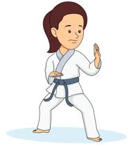 Girl Practicing Karate Kick Clipart Size: 82 Kb