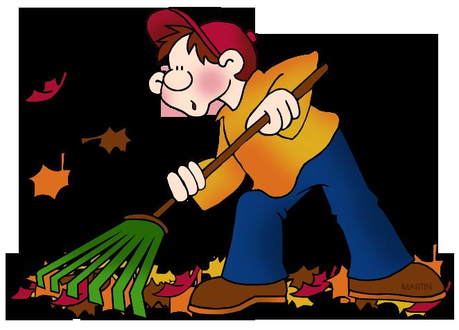 Girl Raking Leaves. Free Seasons Clip Art by .