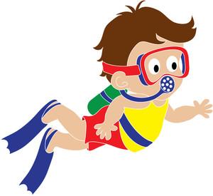Girl Scuba Diving Clipart #1