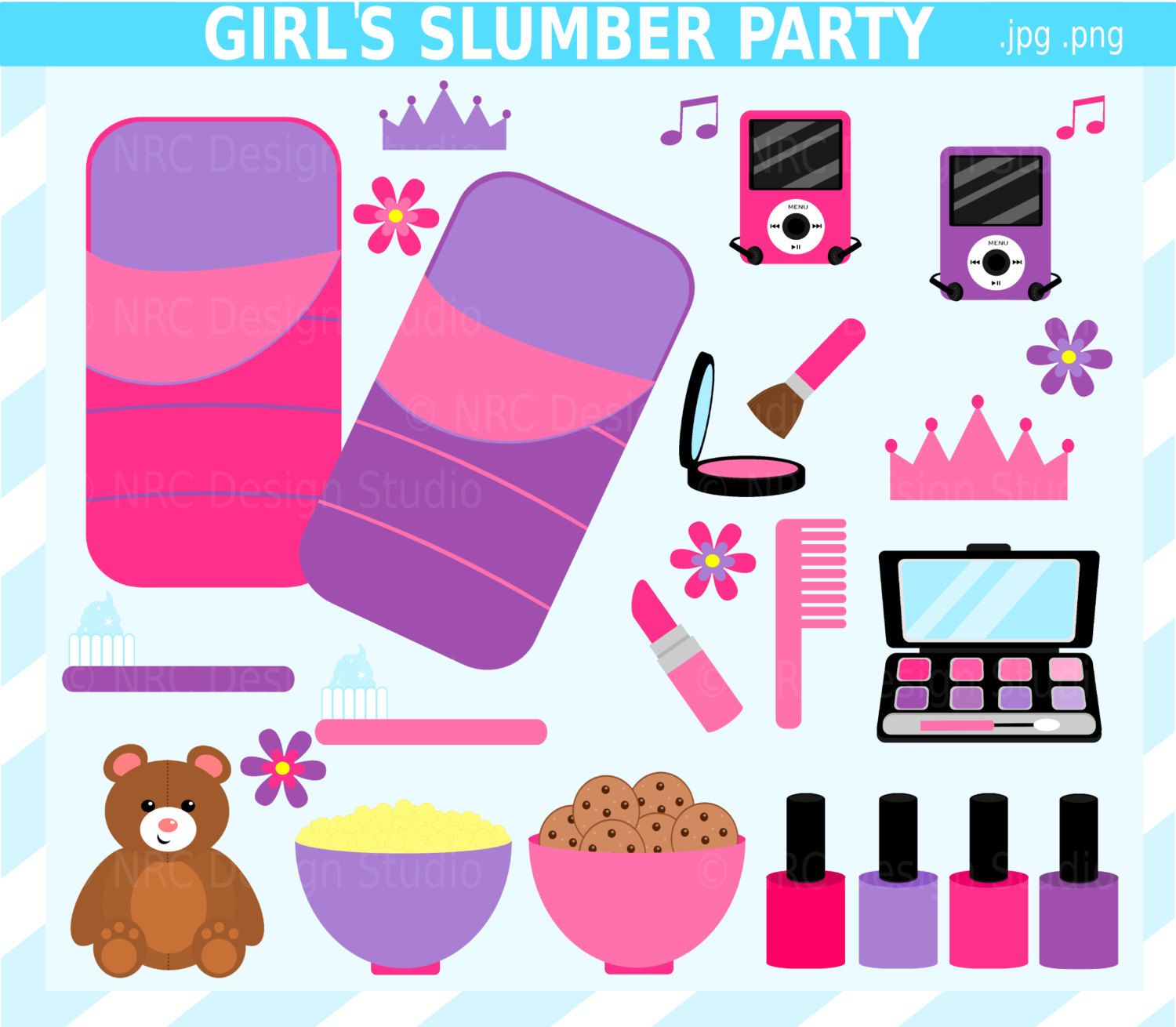 Girl Slumber Party Clip Art Sleepover Clip Art By Nrcdesignstudio