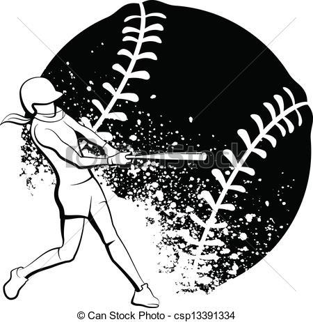 ... Girl Softball Batter - Black and White vector illustration.