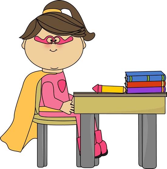 Girl Superhero at School Desk