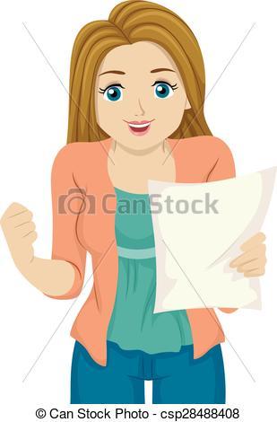 Girl Teen Result Paper Happy - .