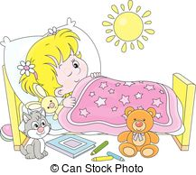 ... Girl waking up - Little girl waking up in her small bed
