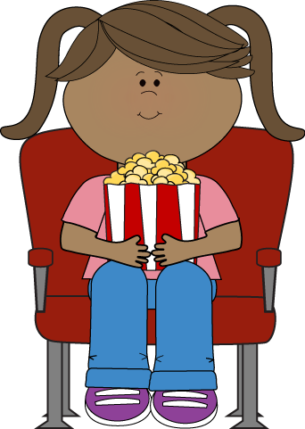 Girl Watching Movie in Theater