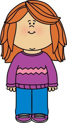 Girl Wearing a Sweater Clip Art - Girl Wearing a Sweater Image
