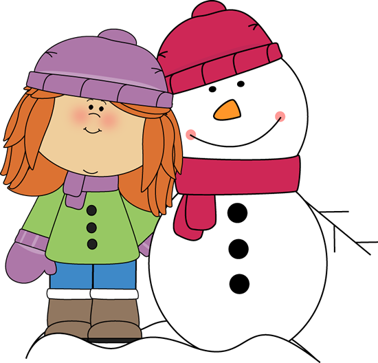 Girl with Arm Around Snowman