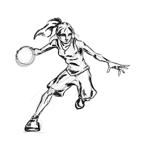clipart girl basketball playe