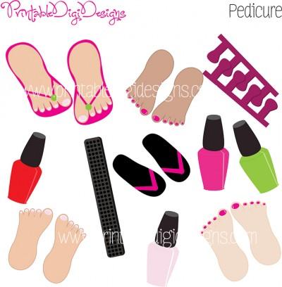 Girls Beauty Pedicure Pedi Graphics Clipart Set