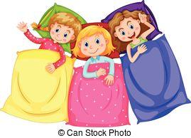 ... Girls in pajamas at slumber party illustration