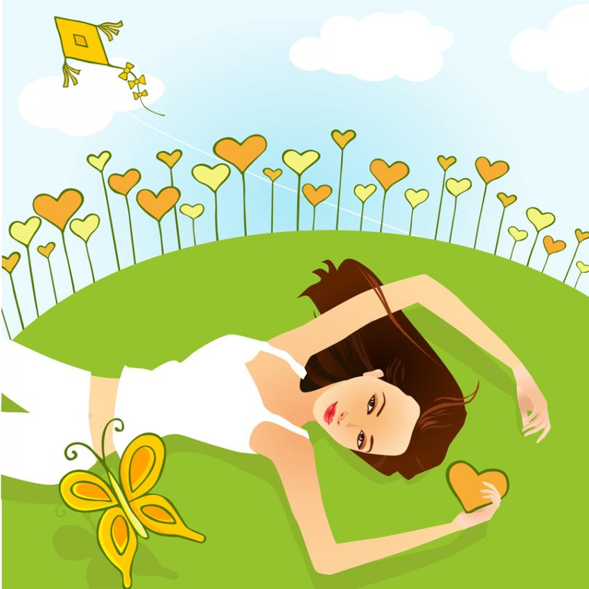 Girls Relaxation Clipart