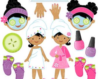 Girls Spa Party V2 Cute Digital Clipart, Commercial Use OK, Spa Party Graphics, Spa Party Clipart