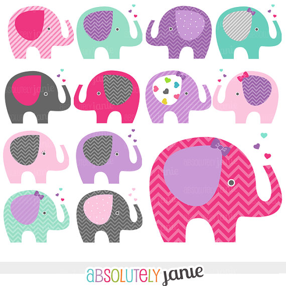Girly Clip Art. Purple baby, Baby elephants .