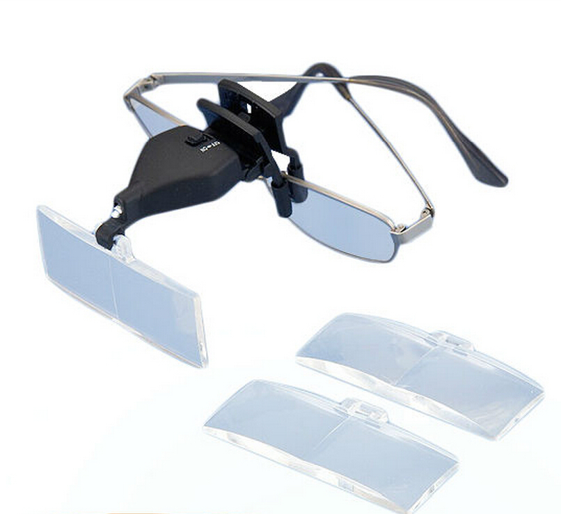 Glasses Clip Type Hands Free Magnifier With LED Light and Three Lens 1.5X 2.5X