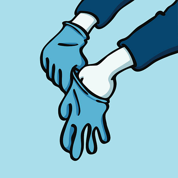 Putting on gloves vector art illustration