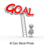 ... Goal - 3d people - man, person with a ladder and word GOAL