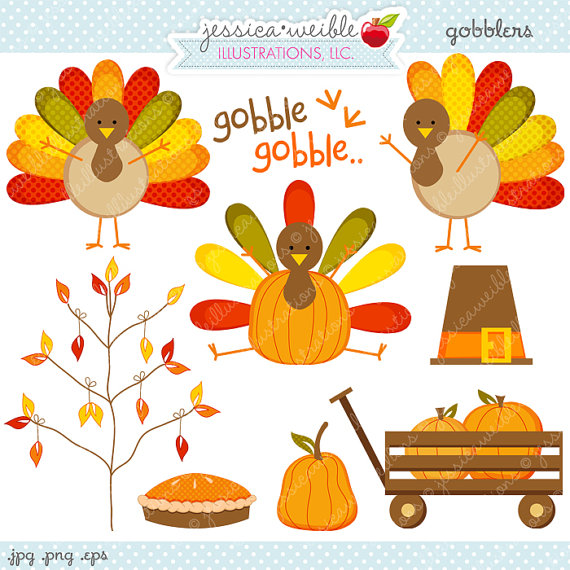 Gobblers Thanksgiving Clipart - Commercial Use OK - Thanksgiving Graphics, Turkey Clipart, Cute Thanksgiving