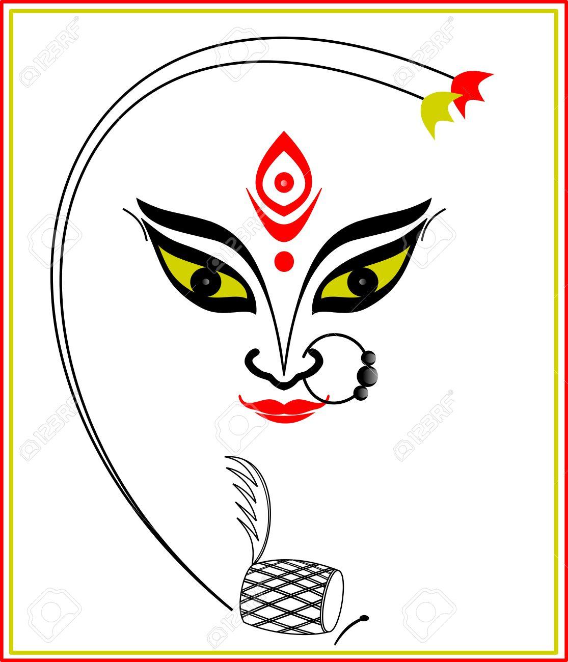 Durga Maa Face Sketches Hindu Clipart Goddess Durga u2013 Pencil And In Color  Hindu Clipart