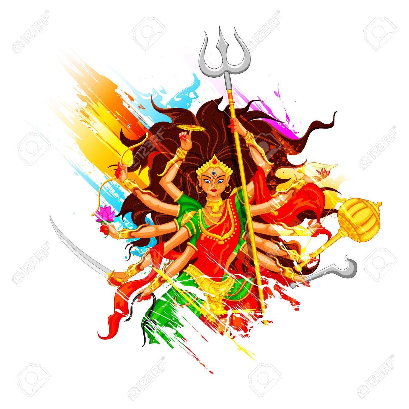 illustration of goddess Durga in Subho Bijoya (Happy Dussehra) background  Stock Vector - 25737204