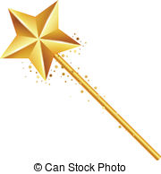 ... golden magic wand - Vector illustration of golden magic wand