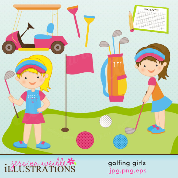 This cute little golfing clipart set comes with 12 graphics including: a  golf course flag, 3 golf balls, 2 golf tees, a golf cart, a score card, hdclipartall.com