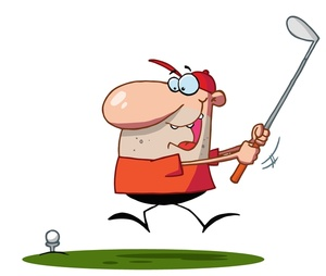 Golf Clipart Image: Whacky cartoon golfer playing golf with great enthusiasm