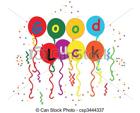 ... Good Luck Balloons , streamers and confetti illustration -.