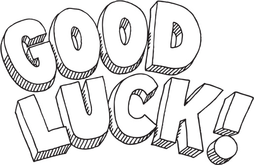 Good Luck Text Drawing vector .