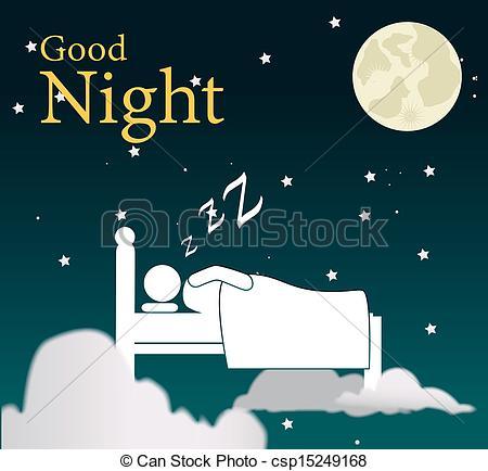 Good night Clip Artby 578foot1/96; good night design over sky background vector illustration
